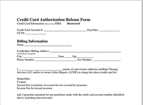 pin credit card authorization form template free on