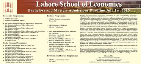 Mba Economics Sheet by Lahore School Of Economics Mba Finance Bba Mphil