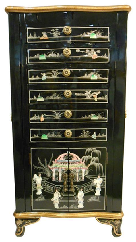 asian jewelry armoire oriental jewelry armoire black lacquer and inlaid asian