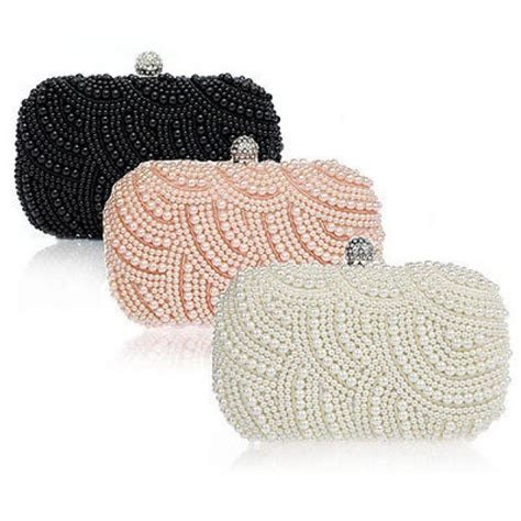 Handmade Beaded Purse - handmade beaded pearl evening bag clutch purse