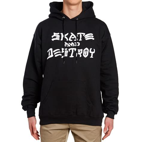 Hoodie Sweater The Beattles Clothing thrasher skate and destroy pullover hoodie black