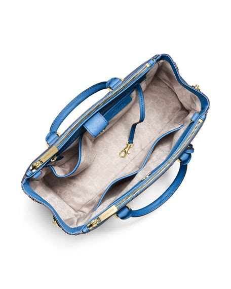 Michael Kors Sutton Medium Electric Blue And Navy michael michael kors sutton medium bicolor satchel bag heritage blue navy