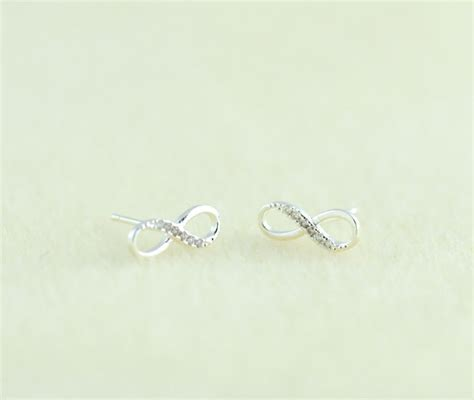 silver infinity earrings infinity stud earrings by