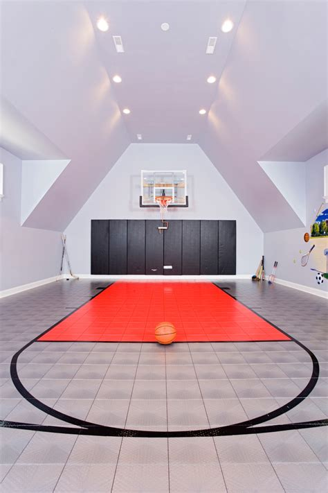 indoor basketball court home contemporary with balcony