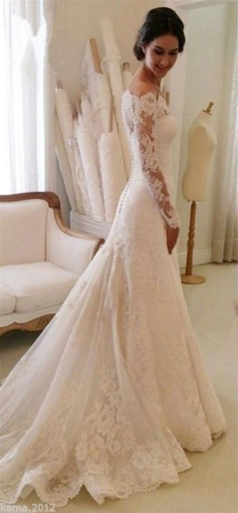 elegant lace wedding dresses white ivory   shoulder