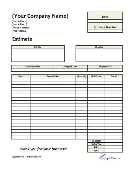 free quote form template estimate printable forms templates