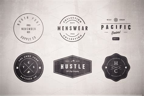 vintage logo set volume two logo templates on creative