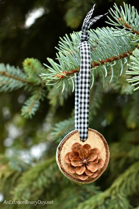 diy pine cone ornaments how to make simple rustic birch and pine cone