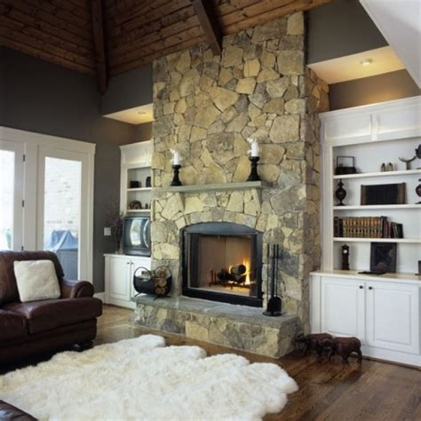 stone with built ins stone surround through the front door