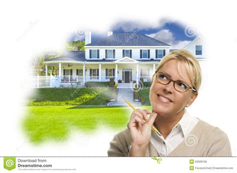 Happy Green Custom Buat Bu Asri daydreaming with pencil custom house photo thought bu stock photo image 50309158