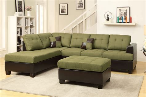 Poundex Moss F7604 Green Leather Sectional Sofa And
