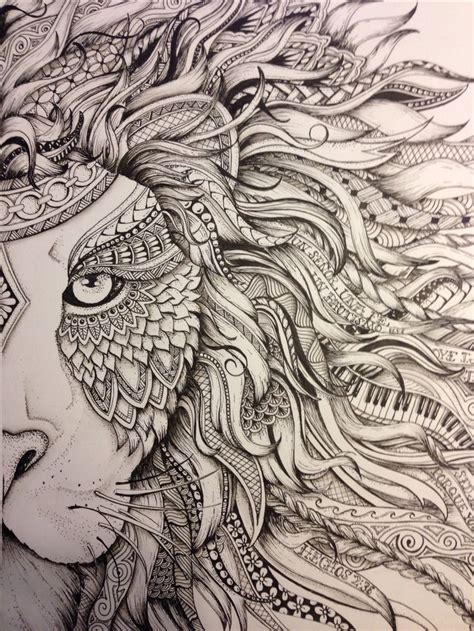 zentangle lion zentangle spiratie pinterest lion zendoodle drawn by justine galindo signed prints
