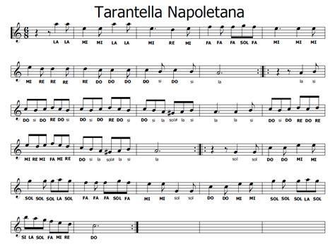 tarantella napoletana testo musica e spartiti gratis per flauto dolce tarantella