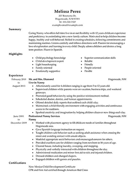 resume for nanny position examples graphic designer job