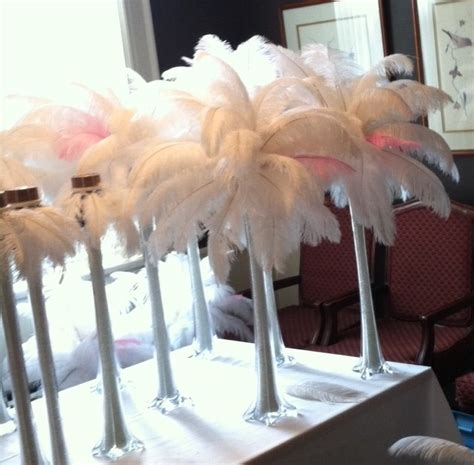 whitepink ostrich feather plumes centerpiece supplies and