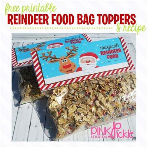 free printable reindeer food bag topper free printable reindeer food bag toppers by pink pickle