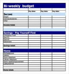 Biweekly Budget Template Sample Budget 8 Documents In Pdf Excel