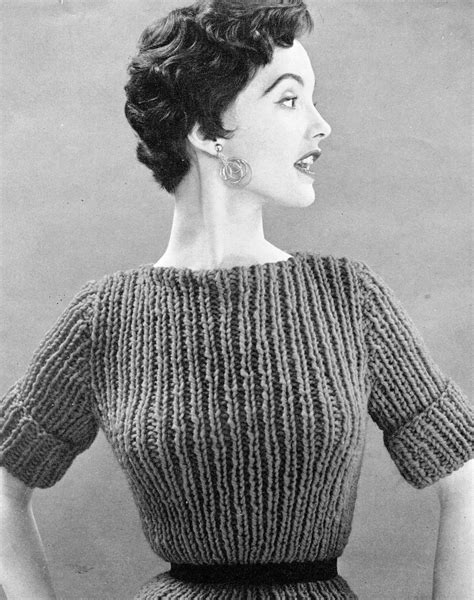 antique knitting s 1960s chunky vintage top pdf knitting pattern