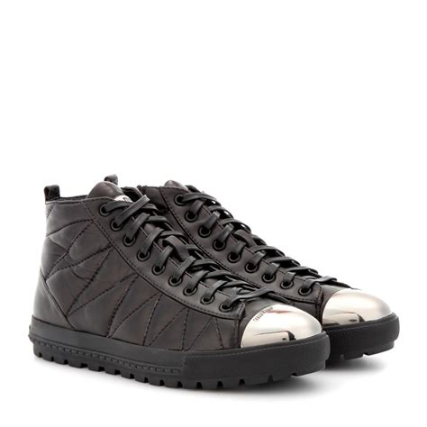 miu miu cap toe sneakers miu miu quilted leather sneakers with toe cap in black lyst