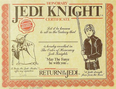 Wars Jedi Certificate Template Free dartman s world of you can be a jedi