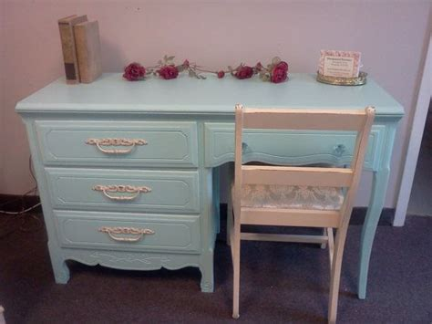 Vintage Hand Painted Shabby Chic Desk Chair Set Shabby Chic Desk Chairs