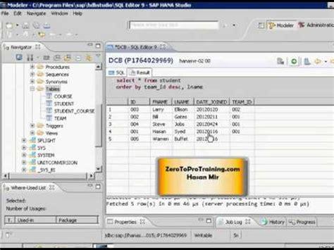 tutorial sap hana studio sap hana studio tutorial 28 sorting results using order