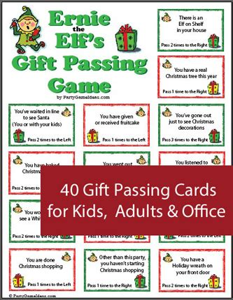 ernie the elf gift passing game ernie the s gift passing printable