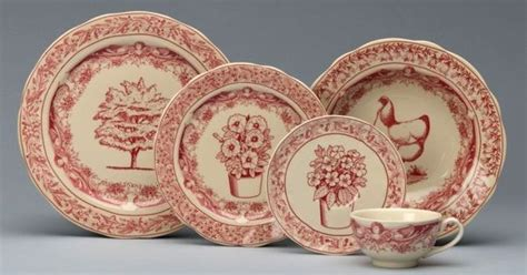 image detail for pc place setting red toile porcelain