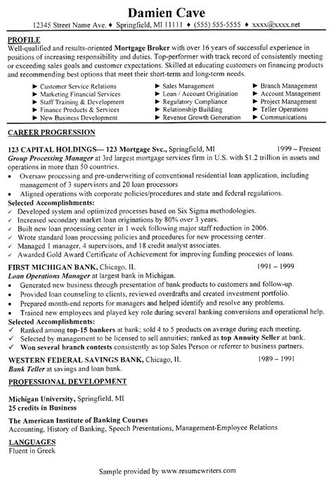 Sample Cover Letter: Sample Resume Mortgage