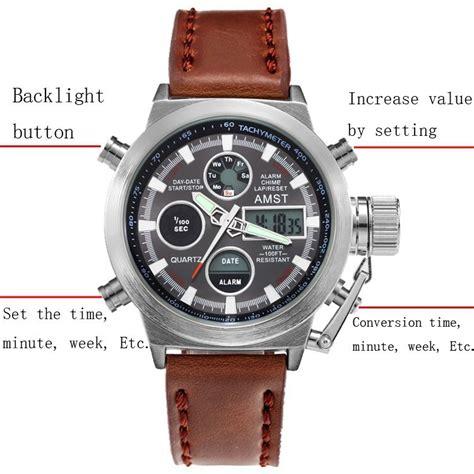 amst jam tangan digital analog pria am3003 brown black jakartanotebook