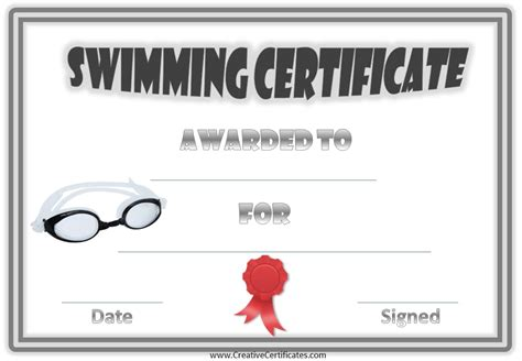 free swimming certificates