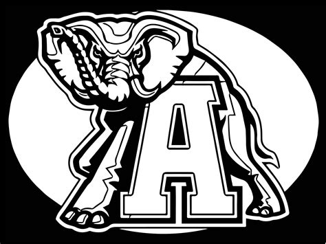 alabama elephant coloring page alabama crimson tide football logo coloring page