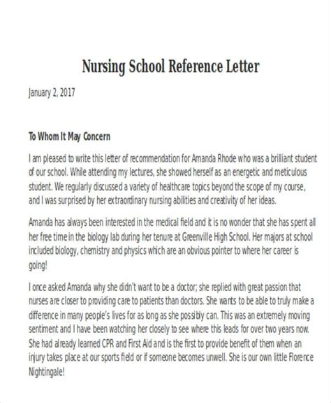 nursing school letter of recommendation letter of recommendation