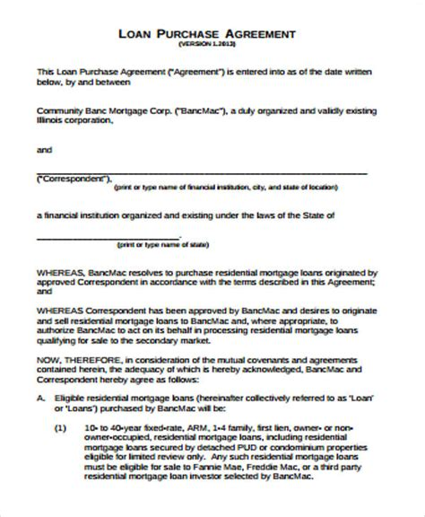 9 Sle Purchase Agreements Pdf Doc Sle Templates Mortgage Purchase Agreement Template