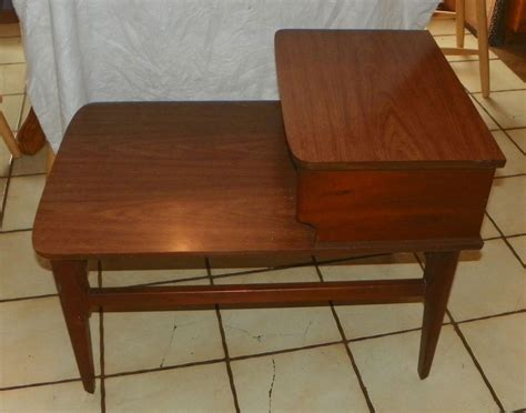 walnut mid century formica top step end table side table