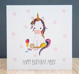 Unicorn Cards - personalised handmade unicorn birthday card just for cards