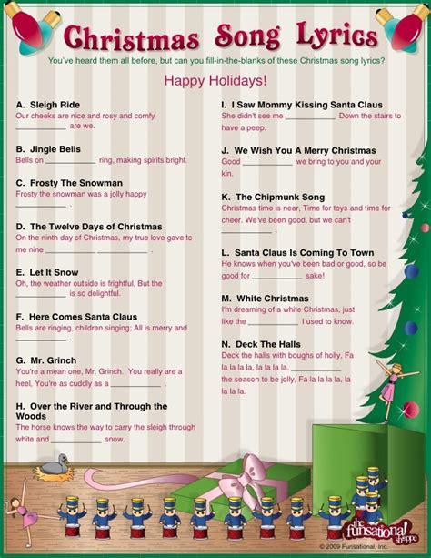 printable song lyrics quiz kids christmas songs christmas music class pinterest