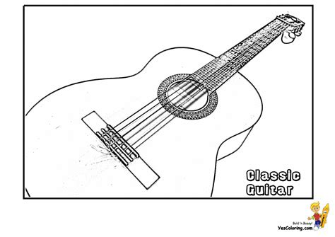 printable guitar images acoustic guitars coloring pages