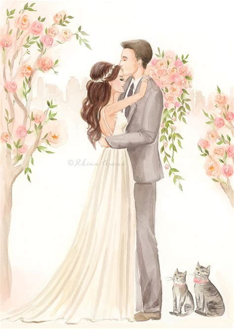 Wedding Ceremony Drawing by Save The Date Illustration Wedding Portrait Groom