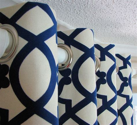 cream and navy curtains one panel decorative designer custom grommet curtains