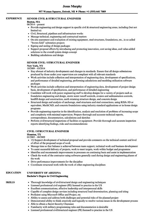 Structural Engineer Resume by Civil Structural Engineer Resume Sles Velvet