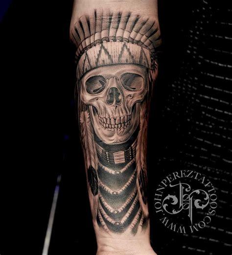 native american skull tattoos american skull skull wearing
