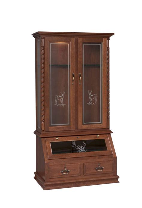 Solid Wood Gun Cabinet with Deer Design