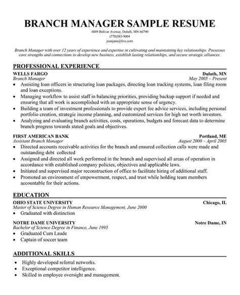 bank branch operations manager resume sle bank manager resume template learnhowtoloseweight net