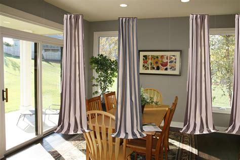 Ravishing Ceiling To Floors Grey Fabric Curtain Patio Door
