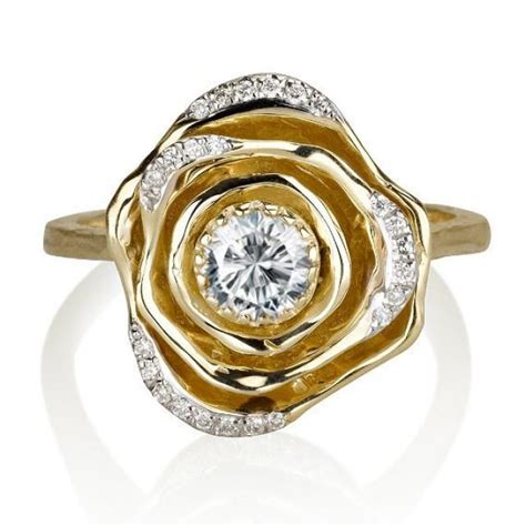 14k yellow gold ring floral ring flower band promise