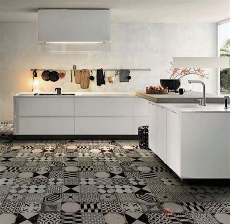 Black And White Tile Floor Kitchen by Mad About Cement Tiles