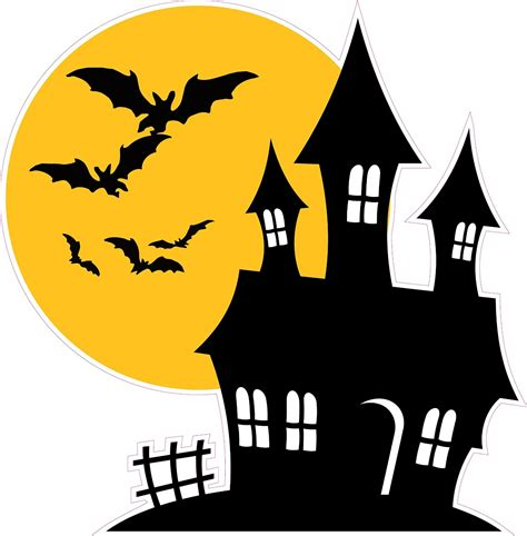 halloween haunted house halloween haunted house with bats wall decor decal nostalgia decals
