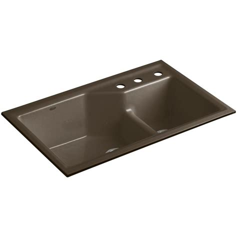 kohler smart divide sink kohler indio smart divide undermount cast iron 33 in 3