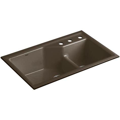 Undermount Kitchen Sink With Faucet Holes kohler indio smart divide undermount cast iron 33 in 3